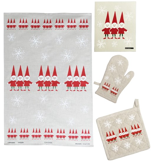 nordic elves pot holder, glove, towel & cloth gift set