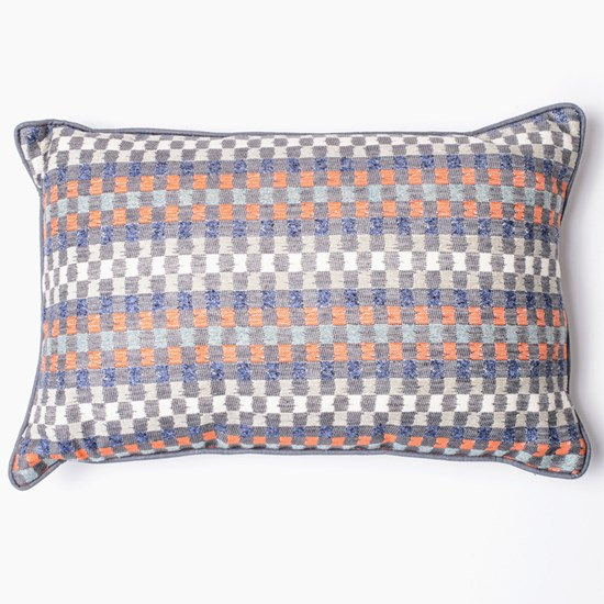Heather Check Cushion Navy & Paprika