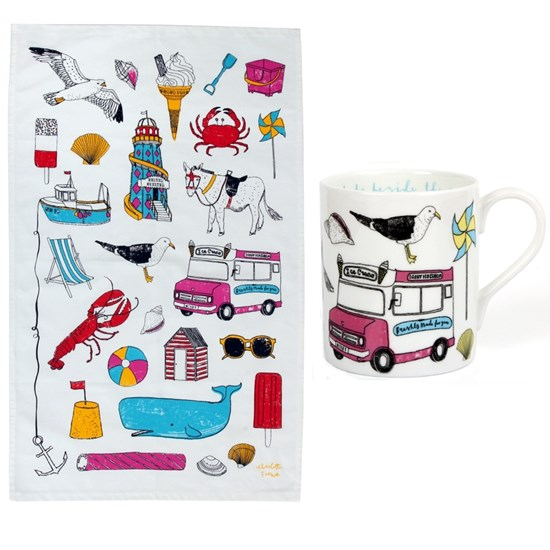 seaside fun mug & tea towel gift set