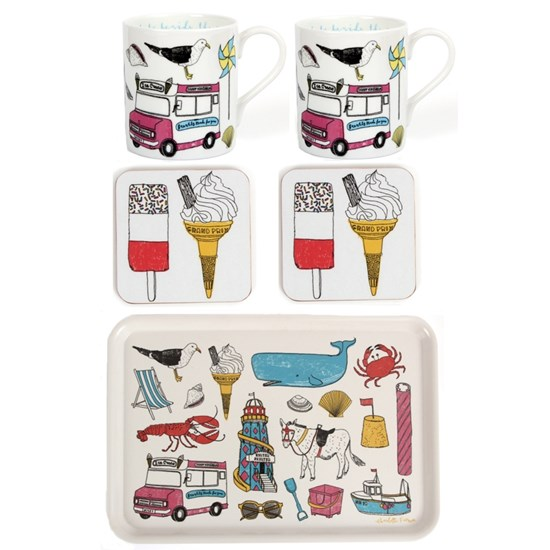 seaside fun mug, coaster and tray gift set