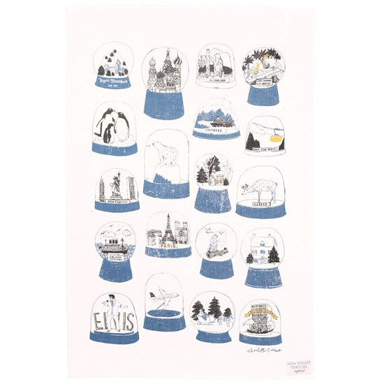 shake it snow globe tea towel