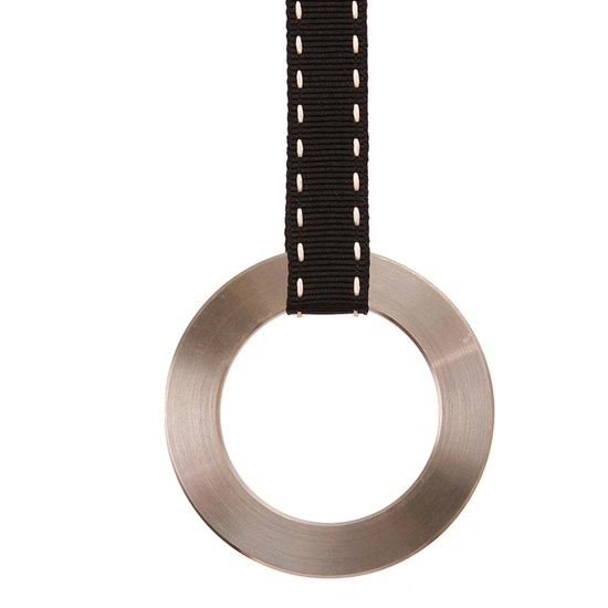 stainless steel ring pull - black ribbon