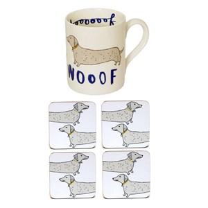 wooof dog mug and coaster gift set, charlotte farmer dog set, dog mug & coasters