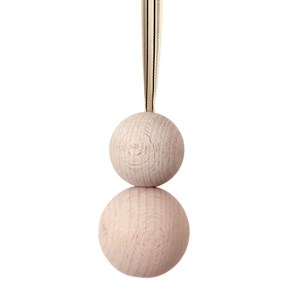 double wooden ball blind pull -  whitewash with ribbon