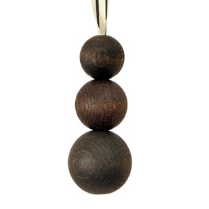 triple wooden ball blind pull -  cocoa with ribbon