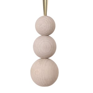 triple wooden ball blind pull -  whitewash with ribbon