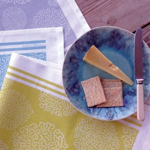 set of three asha contemporary british kitchen tea towels in grey, green and blue