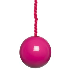 glossy fuchsia pink painted wooden bathroom light pull with matching cotton cord