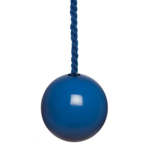 glossy bright blue painted wooden bathroom light pull with matching cotton cord