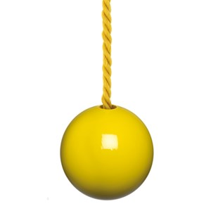 glossy bright yellow painted wooden bathroom light pull with matching cotton cord