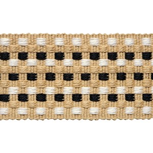 decorative interior trimming of small square dots woven in black, white and natural in cotton/jute