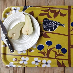 cherry orchard small tray - mustard
