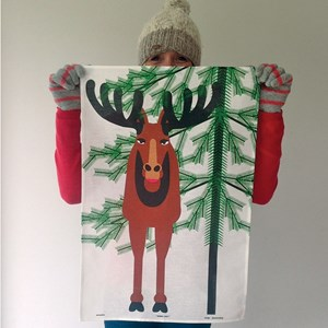 moose tea towel with a large scandinavian elk with horns on cotton/linen
