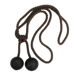 cocoa coloured wooden ball curtain tieback with cotton rope embrace