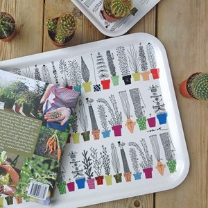 crazy pots large laminated tray with colourful flower pots and humorous plants