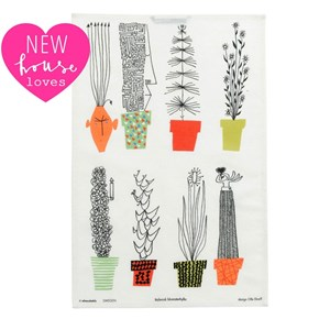 crazy pots kitchen drying up tea towel with colourful flower pots and cartoon plants