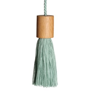 window roller blind pull tassel in duck egg green