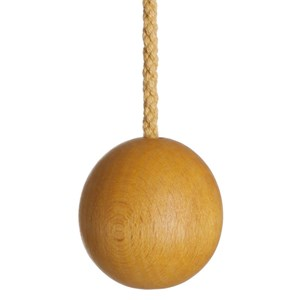 waxed wooden ball bathroom light pull with cotton rope cord