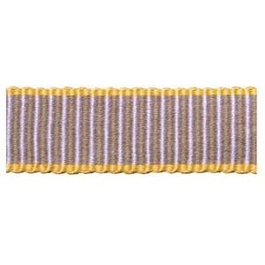 striped decorative woven trimming in barley with bright yellow edges, a passementerie braid