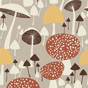 wild mushroom soft cotton fabric printed with autumn mushrooms for drapes and curtains