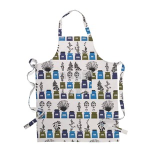 blue and green herb garden vintage cotton/linen kitchen apron by Astrid Sampe