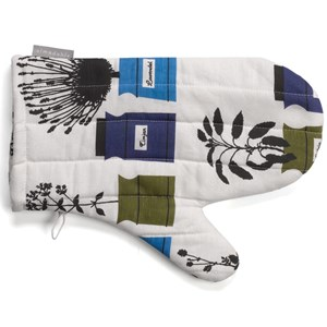 herb garden vintage oven glove in blue white and green