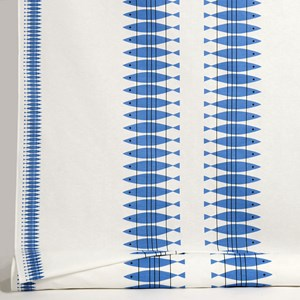 blue and white oil cloth featuring Swedish vintage retro design of fish