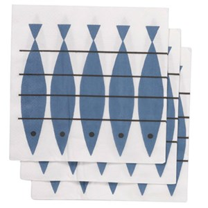 blue and white paper napkins featuring Swedish vintage design of herring fish