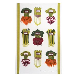 summer vegetables kitchen linen tea towel print by Louise Carling with asparagus carrots