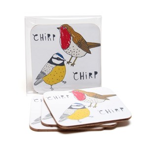 chirp coasters featuring a robin and blue tit by illustrator charlotte farmer