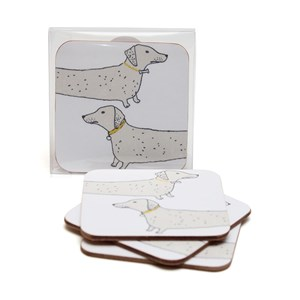 wooof coasters with dachshund sausage dogs saying woof