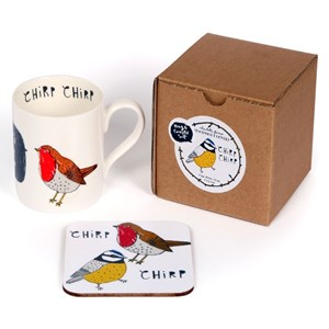 chirp bird mug & coaster gift set of robin and blue tit by illustrator charlotte farmer