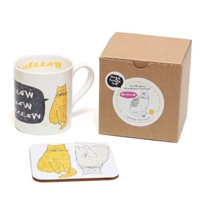 meow china mug & coaster gift set of two humorous fat yellow and grey cats in a box