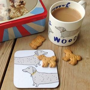 wooof dachshund or sausage-dog china mug barking in grey and blue