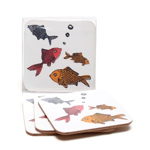 forgetful fish goldfish coasters by illustrator charlotte farmer in set of four