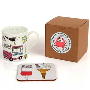 colourful seaside fun china mug & coaster set by charlotte farmer with gift box
