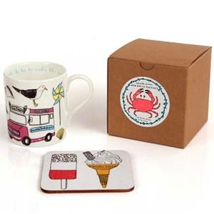 colourful seaside fun china mug & coaster set by charlotte farmer with gift box