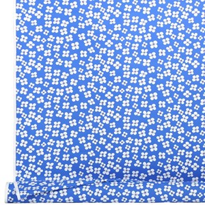 belle amie a vintage blue and white simple flower oil cloth print