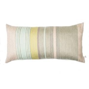 mistley stripe luxury cushion by laura fletcher in silk & cotton woven apple green & yellow colours