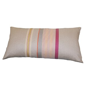 striped woven cushion in orange red ochre pink and grey designed by laura fletcher