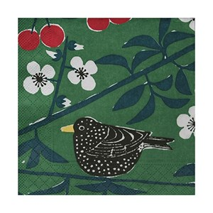 green cherry orchard paper napkins printed with blackbirds eating cherries in a tree design