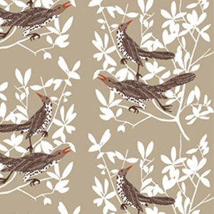 beige/natural and white duett cotton/linen fabric print with two thrushes singing in a tree