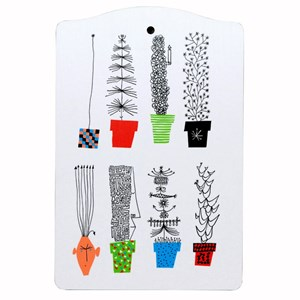 crazy pots chopping or slicing board with flower pots and humorous plants
