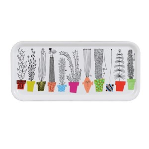 crazy pots small laminated drinks tray with colourful flower pots and humorous plants