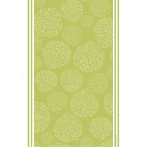 asha patterned tea towel has a design of trees made by white dots on a gooseberry green background
