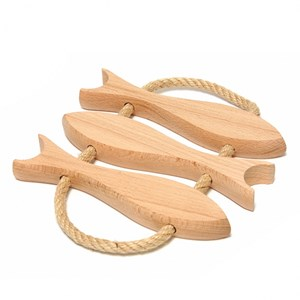 wooden kitchen trivet with 3 fish shaped lathes and natural cotton rope handles