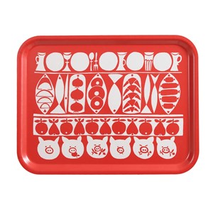 Jul large Xmas birch laminated tray in red and white vintage Christmas design