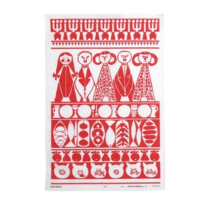 jul tea towel in red and white an authentic retro scandiavian christmas design