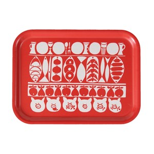 Jul small Xmas birch laminated tray in red and white vintage Christmas design