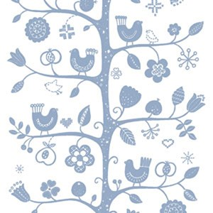 white and blue traditional fabric print of tree, birds and flowers printed on cotton for interiors